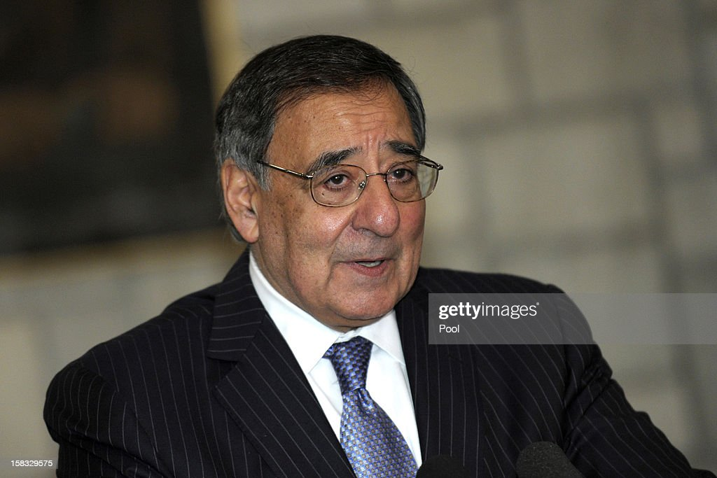 Leon Panetta talks about the suicide car bomb that struck the main U.S. military base in Kandahar, Afghanistan, killing one member of the U.S. military, during a joint news conference with Afghanistan President Hamid Karzai at the Presidential Palace on December 13, 2012 in Kabul, Afghanistan. Secretary Panetta is meeting with Afghan president Hamid Karzai and top Afghan officials as the U.S. look towards a decision on troop numbers once the U.S.-led coalition ends in late 2014.