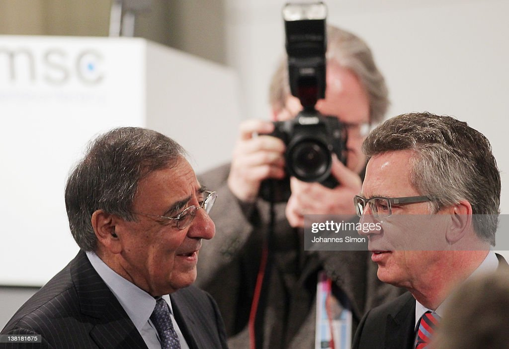 Leon Panetta (L), US secretary of defense and <a gi-track='captionPersonalityLinkClicked' href=/galleries/search?phrase=Thomas+de+Maiziere&family=editorial&specificpeople=618845 ng-click='$event.stopPropagation()'>Thomas de Maiziere</a>, German minister of defense arrive for day 2 of the 48th Munich Security Conference at Hotel Bayerischer Hof on February 4, 2012 in Munich, Germany. The 48th Munich conference on security policy is running till February 5, 2012.