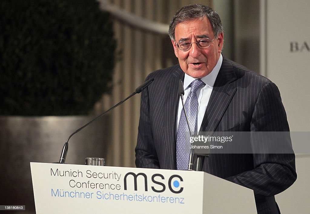 Leon Panetta, US Secretary of Defense delivers a speech during day 2 of the 48th Munich Security Conference at Hotel Bayerischer Hof on February 4, 2012 in Munich, Germany. The 48th Munich conference on security policy is running till February 5, 2012.