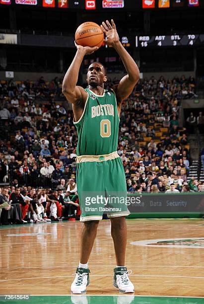 Leon Powe of the Boston Celtics shoots a free throw during the game against the Chicago Bulls at the TD Banknorth Garden on March 11 2007 in Boston...