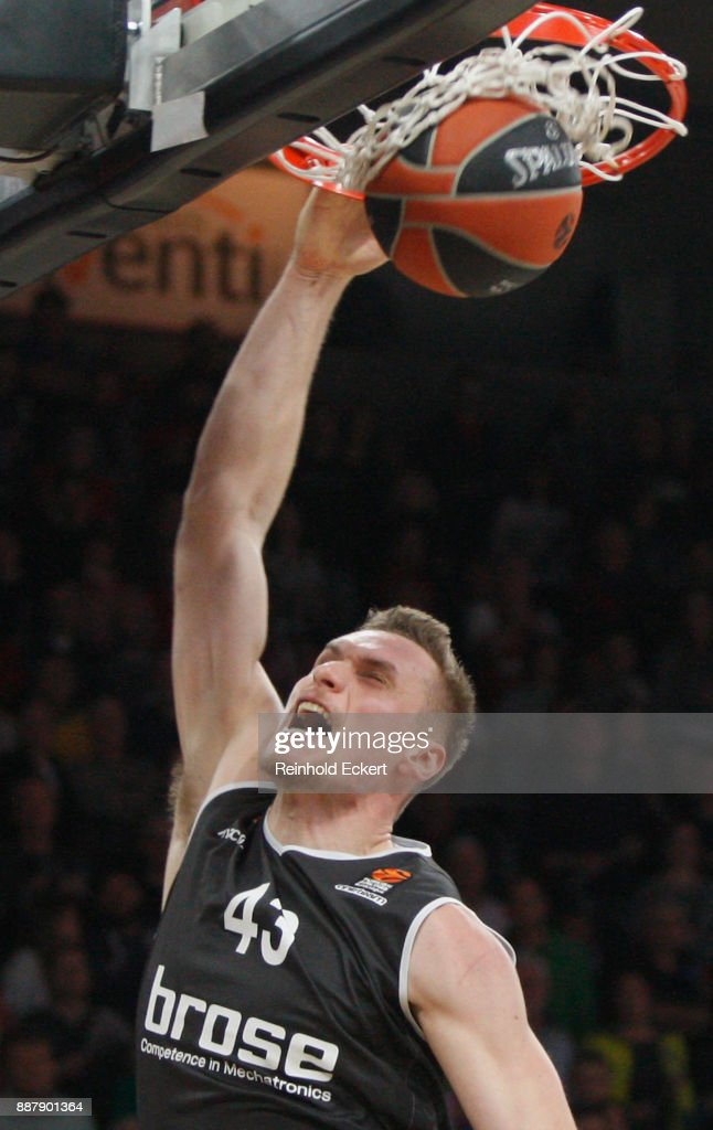 Leon Radosevic, #43 of Brose Bamberg in action during the 2017/2018 Turkish Airlines EuroLeague Regular Season Round 11 game between Brose Bamberg and CSKA Moscow at Brose Arena on December 7, 2017 in Bamberg, Germany.