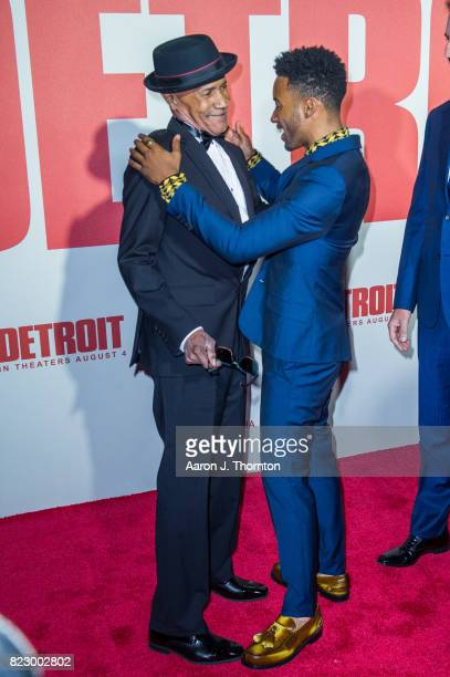 Leon Reed and Actor Algee Smith arrive at the premiere for 'Detroit' at the Fox Theater on July 25 2017 in Detroit Michigan