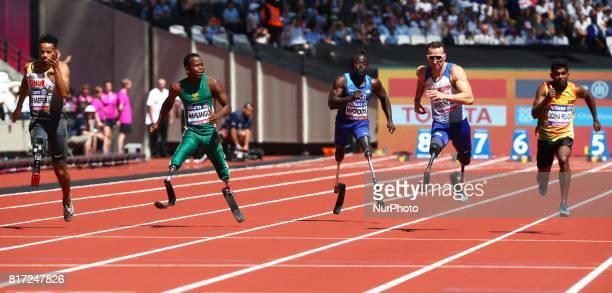 LR Leon Schaefer Ntando Mahlangu rEGAS wOODS SR Richard Whitehead of Great Britain and Apj Yodha Pedige Men's 100m T42 Round 1 Heat 1during IPC World...