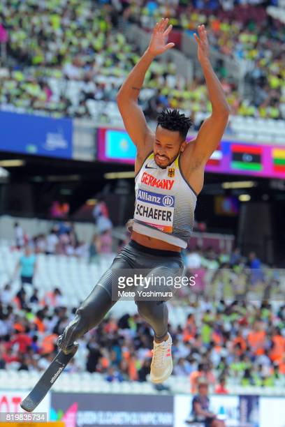 Leon Schaefer of Germany competes in the Men's Long Jump T42 during Day Five of the IPC World ParaAthletics Championships 2017 London at London...