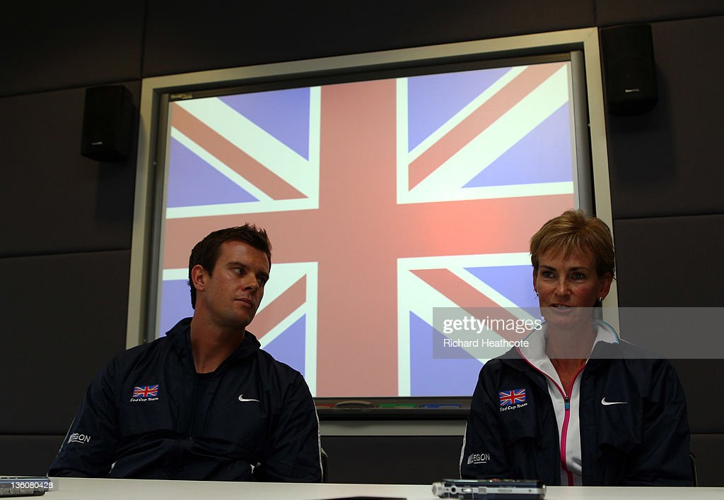 Leon Smith (L) and Judy Murray speaks to the media as Judy is announced as the Fed Cup Captain during a LTA Press Conference at the LTA Tennis Centre in Roehampton on December 19, 2011 in London, England.