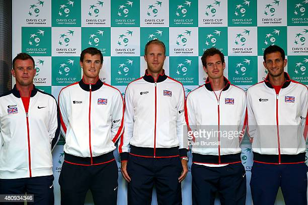 Leon Smith captain of the Great Britain team Jamie Murray Dominic Inglot Andy Murray and James Ward of Great Britain pose after a press conference...