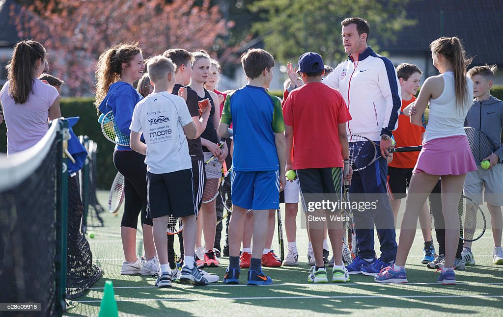 Leon Smith Davis Cup Captain takes a coaching session at Giffnock Tennis Club Glasgow the club where he started his career at on May 5, 2016 in Glasgow, Scotland.