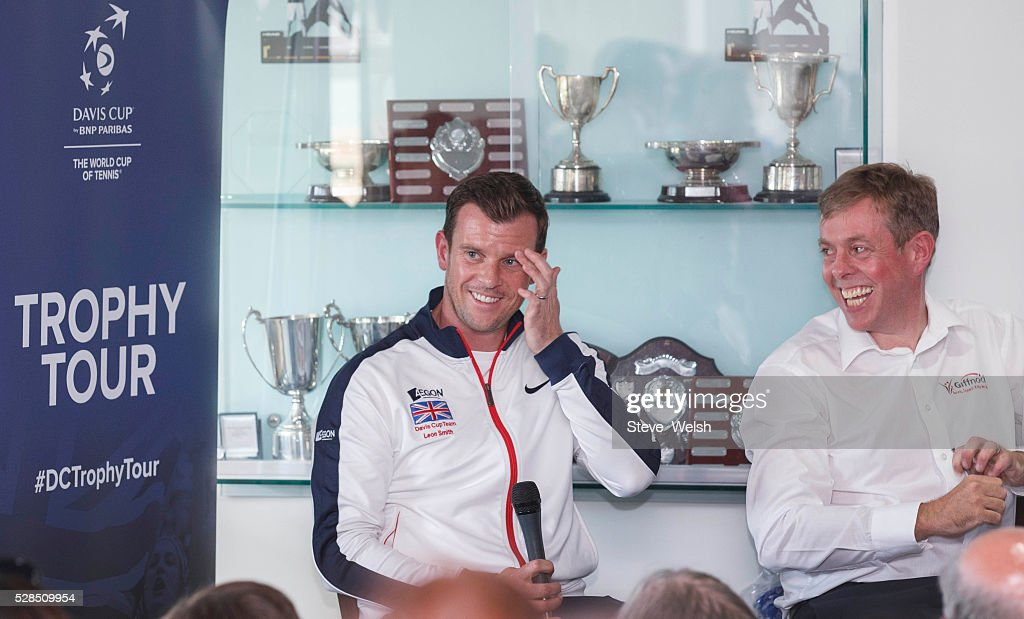 Leon Smith Davis Cup Captain takes questions from invited guests at Giffnock Tennis Club Glasgow the club where he started his career at on May 5, 2016 in Glasgow, Scotland.