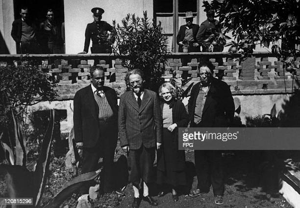 Leon Trotsky and his wife Natalia Sedova with Mexican painter Diego Rivera during the Trotskys' exile in Mexico City circa 1938