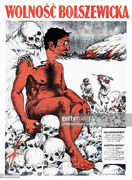 Leon Trotsky depicted on a Polish propaganda poster as bloodsoaked Bolshevik during the PolishRussian war of 1920