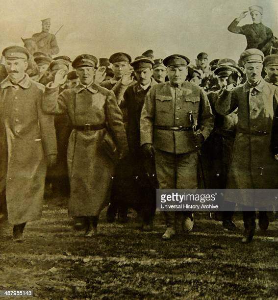 Leon Trotsky with Red Army officers in Moscow 1918