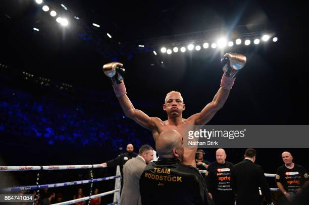 Leon Woodstock celebrates after beating Craig Poxton during The Vacant WBO European Super Featherweight Championship Fight at First Direct Arena...