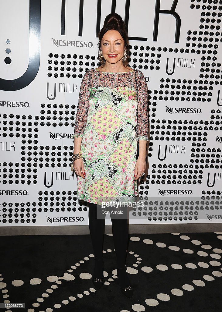 Leona Edmiston arrives at the Nespresso Umilk machine launch on July 30, 2013 in Sydney, Australia.