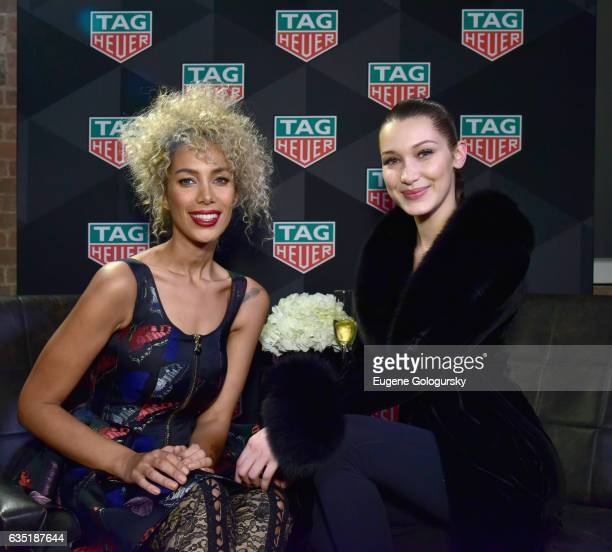 Leona Lewis and Bella Hadid attend A Fresh New Face For TAG Heuer at Equinox Bond Street on February 13 2017 in New York City