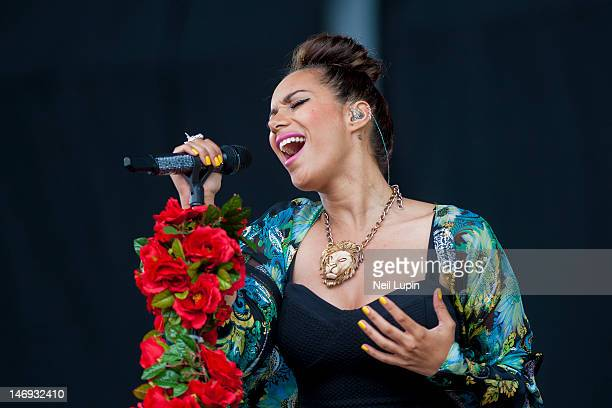 Leona Lewis performs on stage during BBC Radio 1 Hackney Weekend at Hackney Marshes on June 23 2012 in Hackney United Kingdom