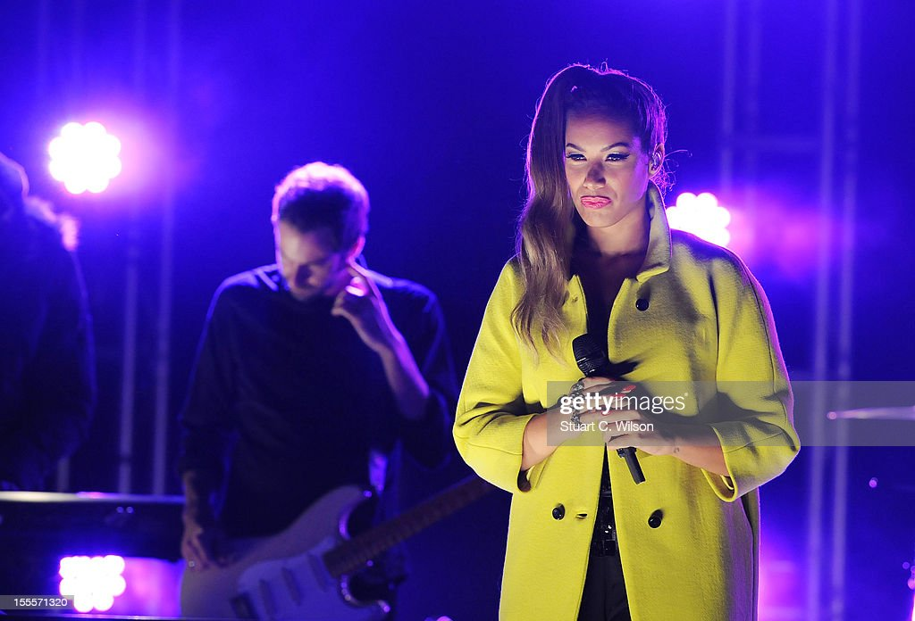 Leona Lewis performs prior to the Oxford Street Christmas Lights switching on on November 5, 2012 in London, England.