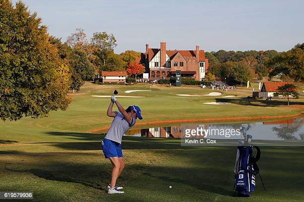 Leona Maguire of Duke plays the 18th hole during day 1 of the 2016 East Lake Cup at East Lake Golf Club on October 31 2016 in Atlanta Georgia