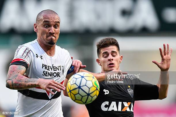 Leonan of Atletico MG and Maicon of Sao Paulo battle for the ball during a match between Atletico MG and Sao Paulo as part of Brasileirao Series A...