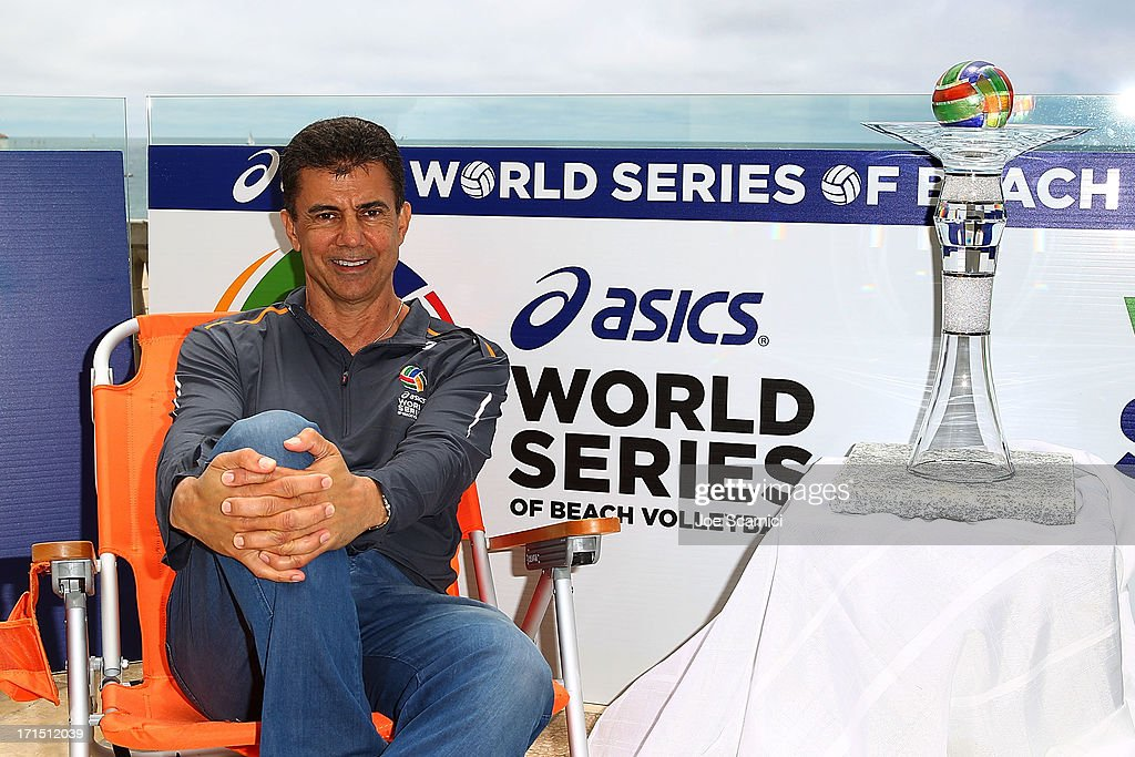 Leonard Armato, CEO, unveils the inaugural World Series Cup with US vs the World at the ASICS World Series of Beach Volleyball on June 25, 2013 in Manhattan Beach, California
