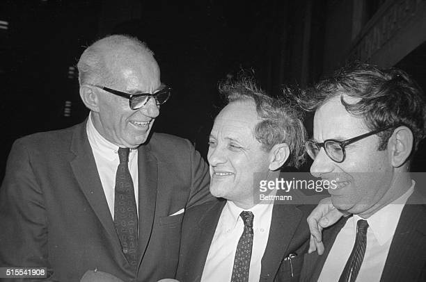 Leonard Boudin attorney for Dr Benjamin Spock one of the four found guilty by a jury for conspiring to counsel youths to avoid draft after verdict...