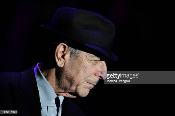 Leonard Cohen performs at the Arcimboldi's theatre on October 23 2008 in Milan Italy
