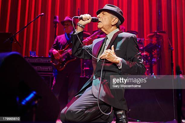 Leonard Cohen performs on stage at Leeds Arena on September 7 2013 in Leeds England