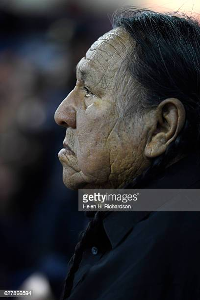 Leonard Crow Dog listens to Gen Wesley Clark Jr during a forgiveness ceremony at the Four Prairie Knights Casino Resort on the Standing Rock Sioux...