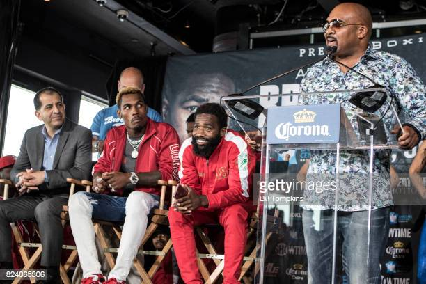 Leonard Ellerbe speaks to the press during the Adrien Broner vs Mikey Garcia Final Press Conference at the Dream Hotel July 27 2017 in New York City