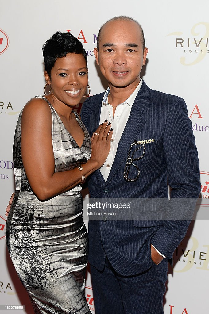 Leonard Espra and Malinda Williams arrive for A la mode Productions Presents Designers Night Out at Sofitel Hotel on October 3, 2013 in Los Angeles, California.