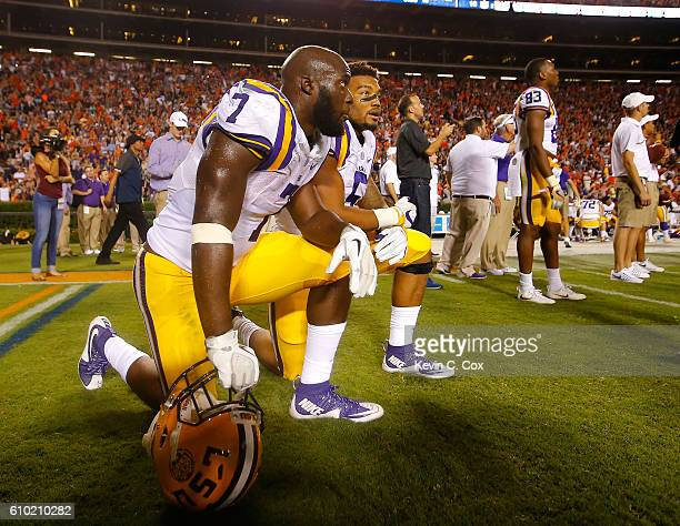 Leonard Fournette and Derrius Guice of the LSU Tigers look on as the review the last play of the game against the Auburn Tigers at JordanHare Stadium...