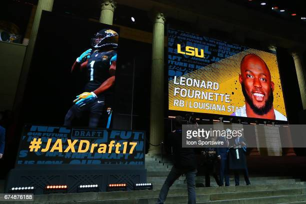 Leonard Fournette from LSU selected 4th overall by the Jacksonville Jaguars in the first round of the 2017 NFL Draft at the NFL Draft Theater on...