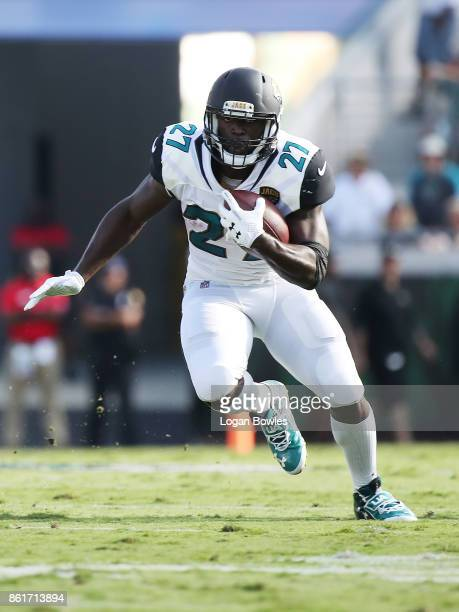 Leonard Fournette of the Jacksonville Jaguars runs with the football in the first half of their game against the Los Angeles Rams at EverBank Field...