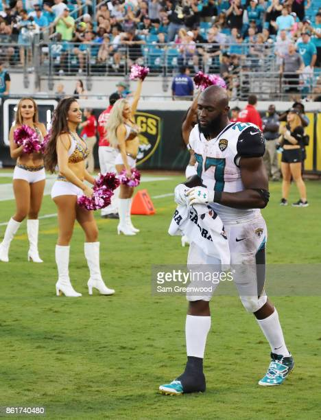 Leonard Fournette of the Jacksonville Jaguars walks to the bench area in the second half of their game against the Los Angeles Rams at EverBank Field...