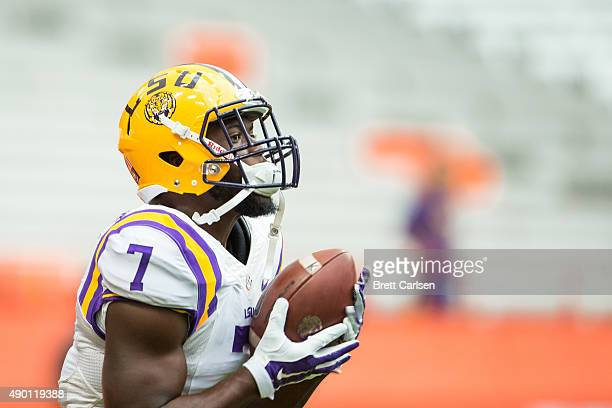 Leonard Fournette of the LSU Tigers catches the ball during warm ups before the game against the Syracuse Orange on September 26 2015 at The Carrier...