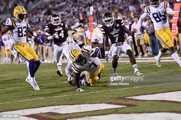 Leonard Fournette of the LSU Tigers dives for a touchdown against the Mississippi State Bulldogs during the second quarter of a game at Davis Wade...