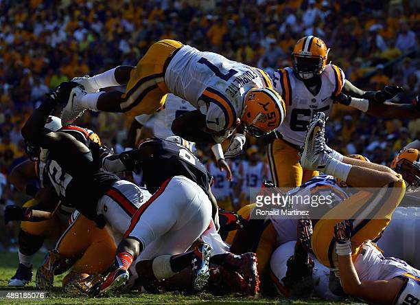 Leonard Fournette of the LSU Tigers dives in for a touchdown against the Auburn Tigers at Tiger Stadium on September 19 2015 in Baton Rouge Louisiana