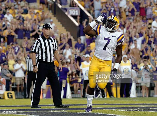 Leonard Fournette of the LSU Tigers reacts to a touchdown during the first quarter of a game against the Sam Houston State Bearkats at Tiger Stadium...