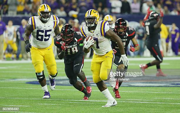 Leonard Fournette of the LSU Tigers runs for a 43yard touchdown during the second half of their game against the Texas Tech Red Raiders during the...