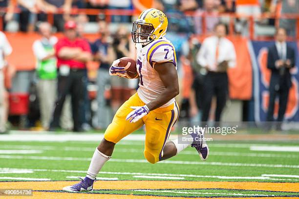 Leonard Fournette of the LSU Tigers runs for a touchdown during the third quarter pushing their lead to 2410 on September 26 2015 at The Carrier Dome...