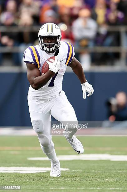 Leonard Fournette of the LSU Tigers runs for yards during a game against the Mississippi Rebels at VaughtHemingway Stadium on November 21 2015 in...