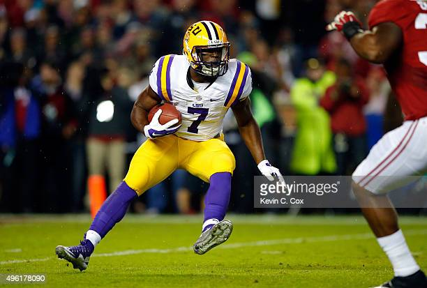 Leonard Fournette of the LSU Tigers runs the ball against the Alabama Crimson Tide during the first quarter at BryantDenny Stadium on November 7 2015...