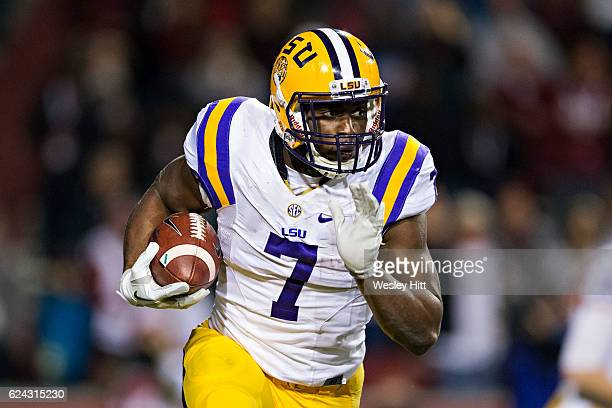 Leonard Fournette of the LSU Tigers runs the ball during a game against the Arkansas Razorbacks at Razorback Stadium on November 12 2016 in...