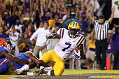 Leonard Fournette of the LSU Tigers scores a touchdown agsint the Florida Gators at Tiger Stadium on October 17 2015 in Baton Rouge Louisiana