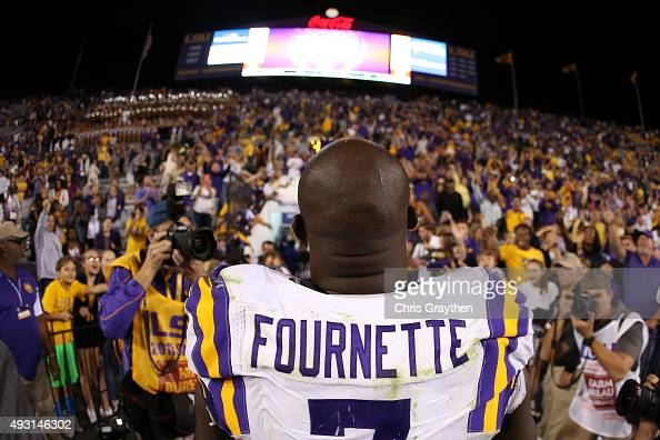 Leonard Fournette of the LSU Tigers walks off the field after defeating the Florida Gators 3528 at Tiger Stadium on October 17 2015 in Baton Rouge...