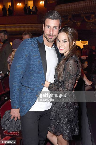 Leonard Freier and Angelina Heger attend the 'Sister Act The Musical' premiere Party at Stage Theater on October 16 2016 in Berlin Germany