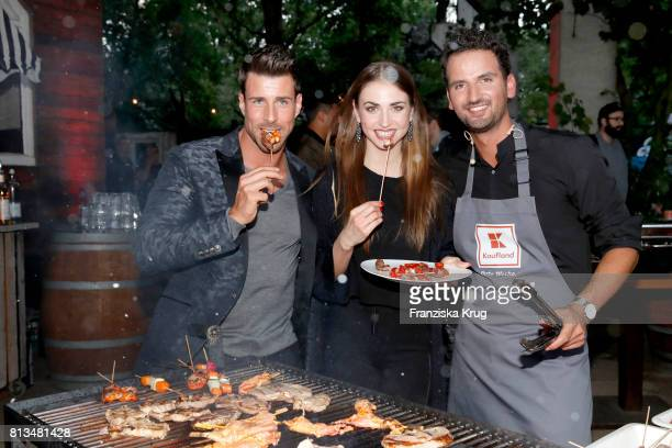 Leonard Freier Ekaterina Leonova and Alexander Wahi attend the Kaufland Hosts VIP BBQ at OberhafenKantine on July 12 2017 in Berlin Germany