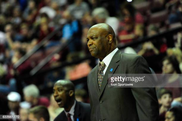 Leonard Hamilton head coach Florida State University Seminoles watches his team build a fortypoint lead over the Clemson University Tigers in an...