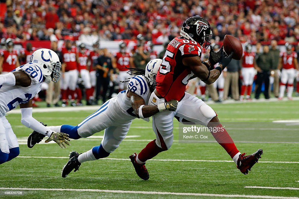 Leonard Hankerson #85 of the Atlanta Falcons fails to pull in a reception against Greg Toler #28 of the Indianapolis Colts during the second half at the Georgia Dome on November 22, 2015 in Atlanta, Georgia.