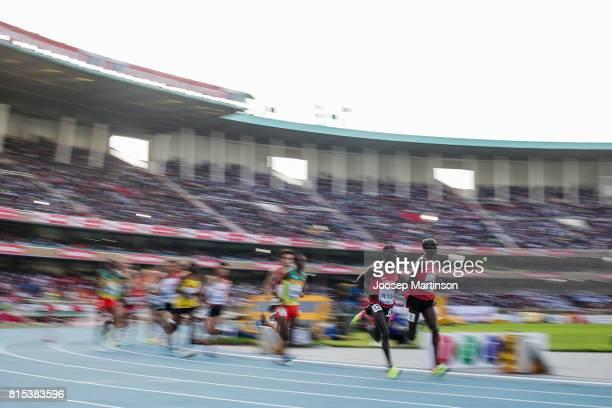 Leonard Kipkemoi Bett and Cleophas Kandie Meyan of Kenya lead the pack in the boys 2000m steeplechase during day 5 of the IAAF U18 World...