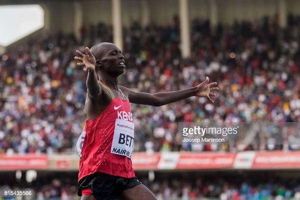 Leonard Kipkemoi Bett of Kenya celebrates in the boys 2000m steeplechase during day 5 of the IAAF U18 World Championships at Moi International Sports...